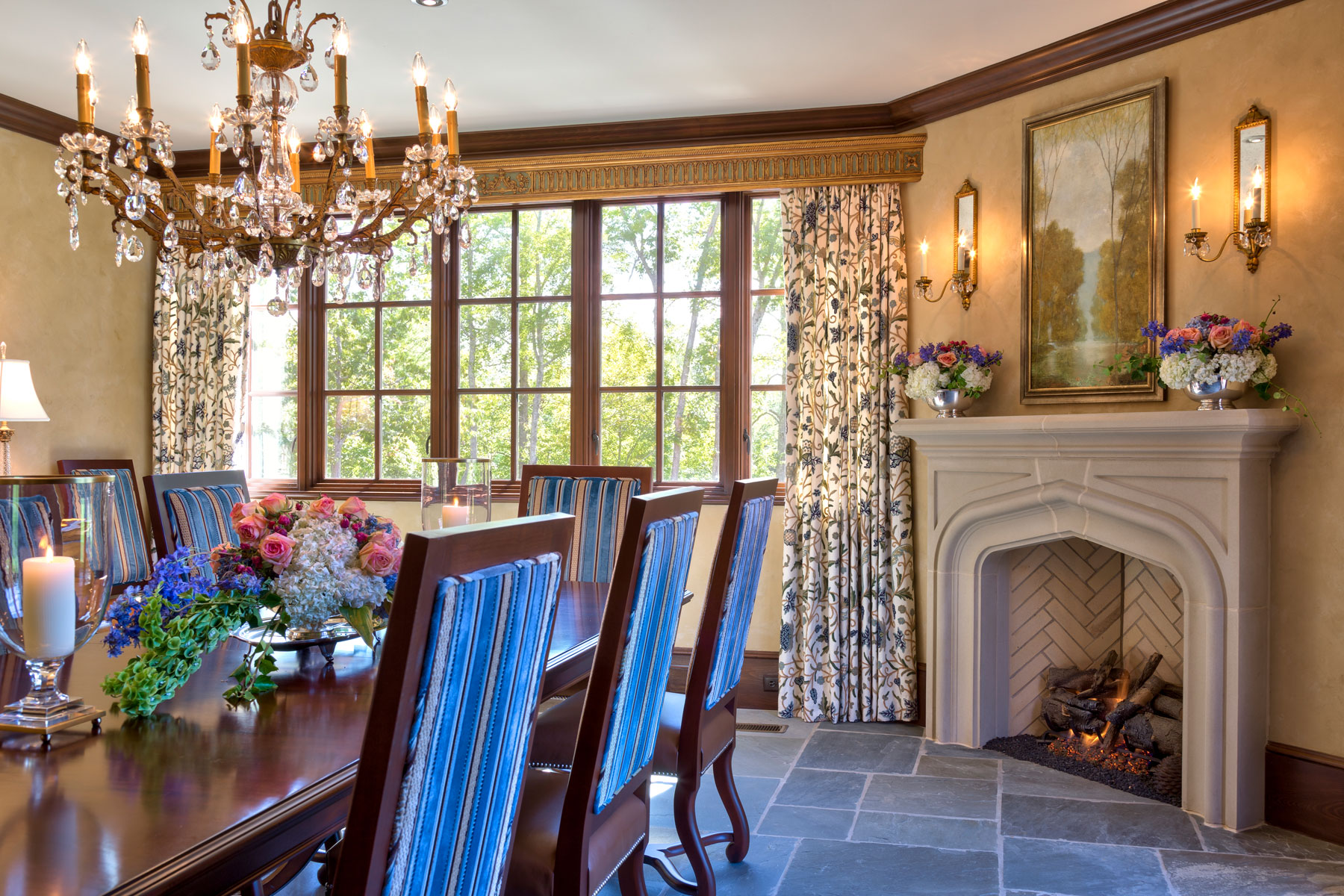 dining-room-with-fireplace-stone-floors