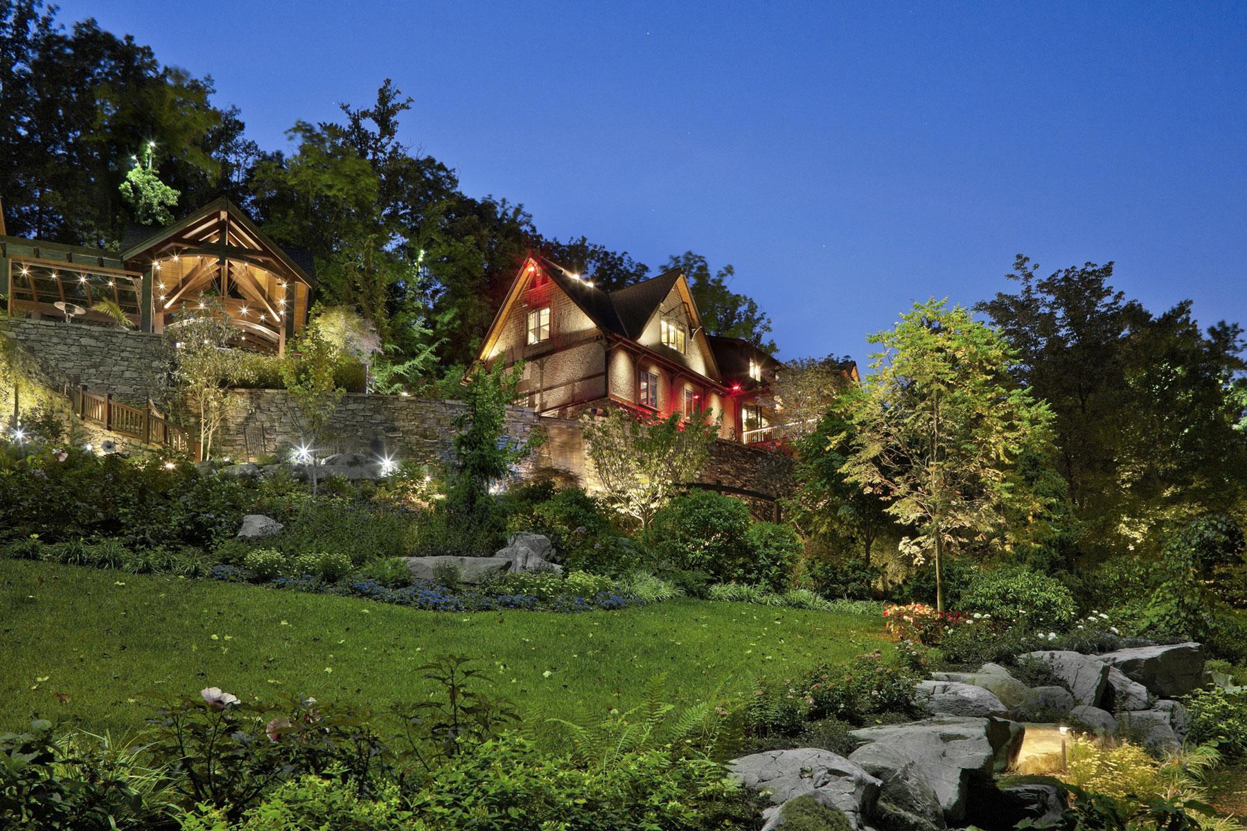 Mountain home nighttime landscape lighting