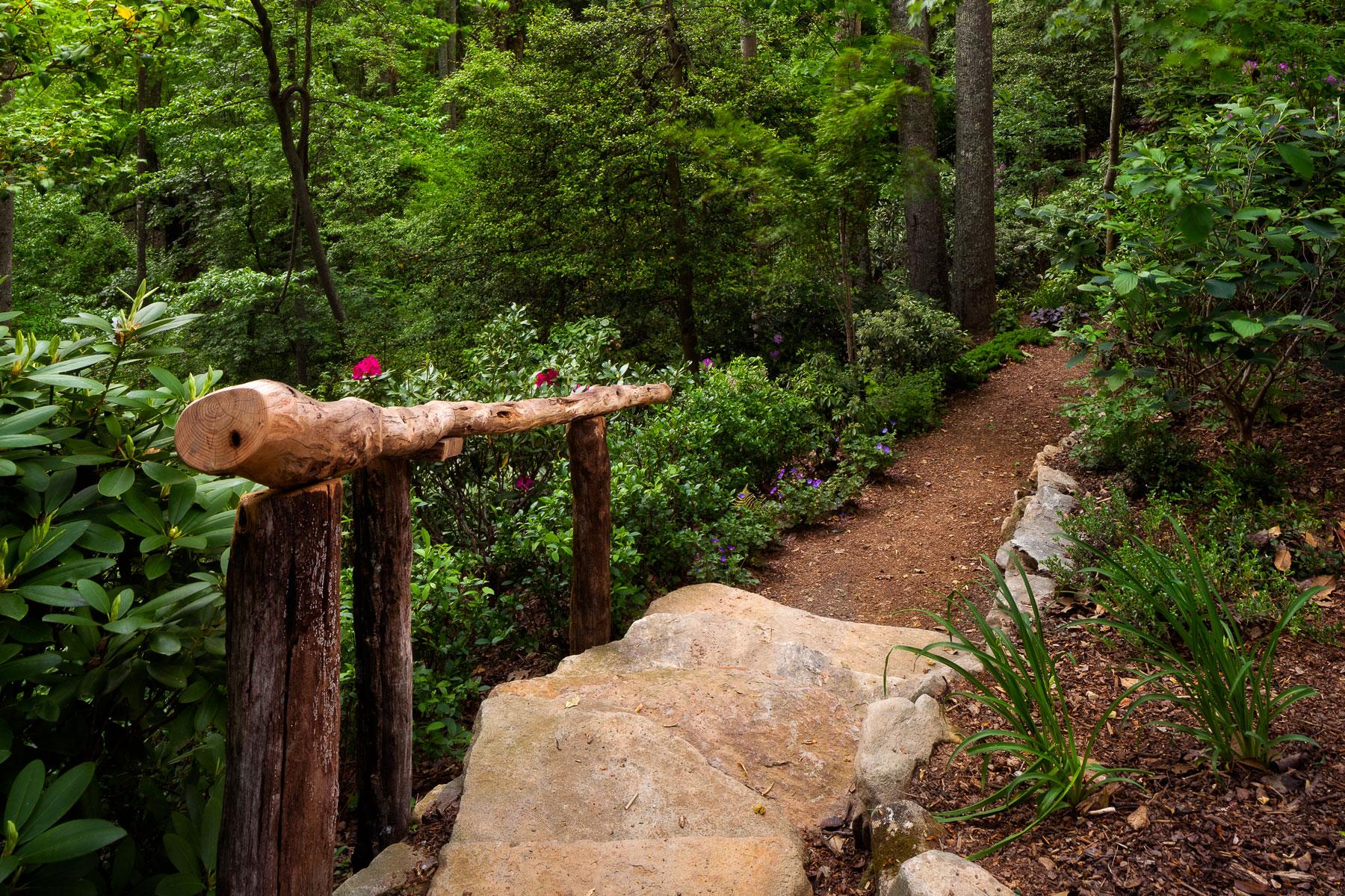Nature trail in Asheville Mountain Estate home