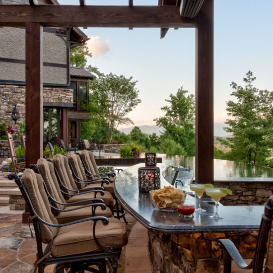 Poolside Bar, rustic mountain style