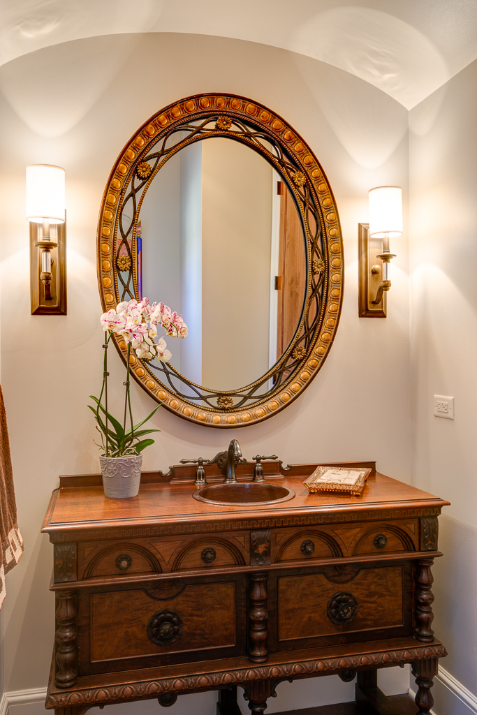 Powder room vanity furniture style in the Ramble Romantic of Biltmore Forest