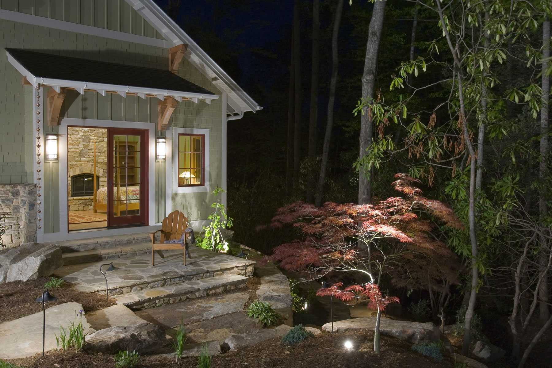 Side yard siting area of master suite in Craftsman home