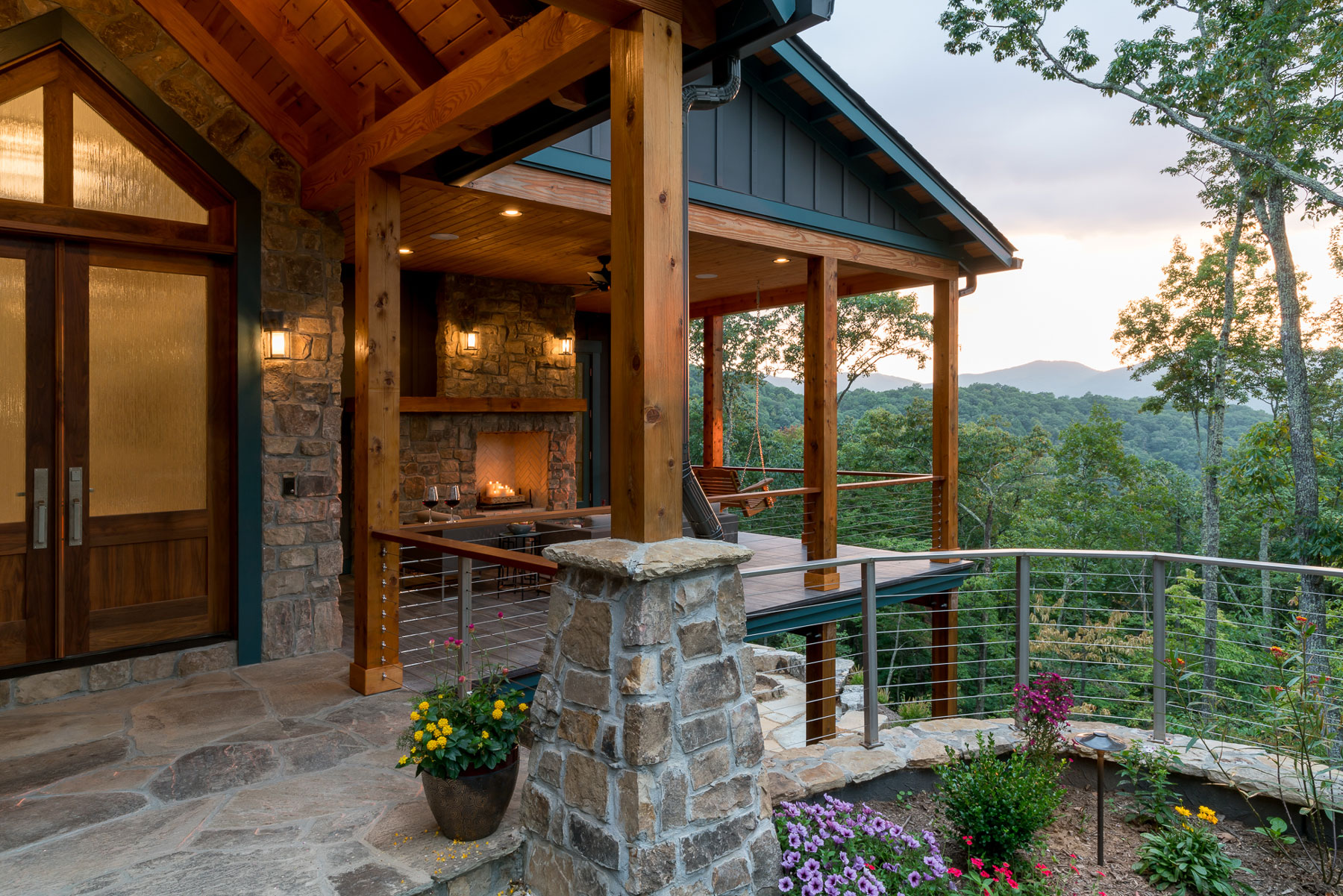 Front elevation of the Waynesville Mountain Modern Craftsman