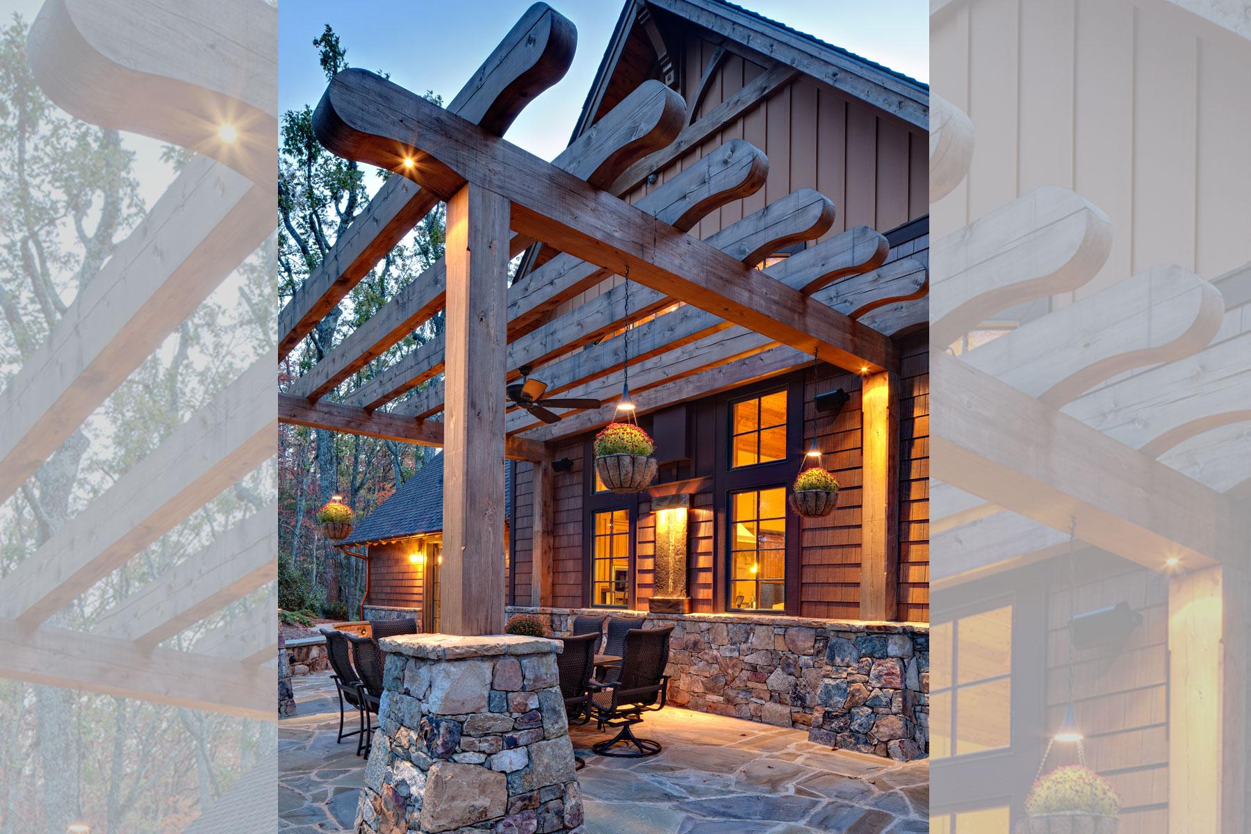 Stone patio for large beam pergola