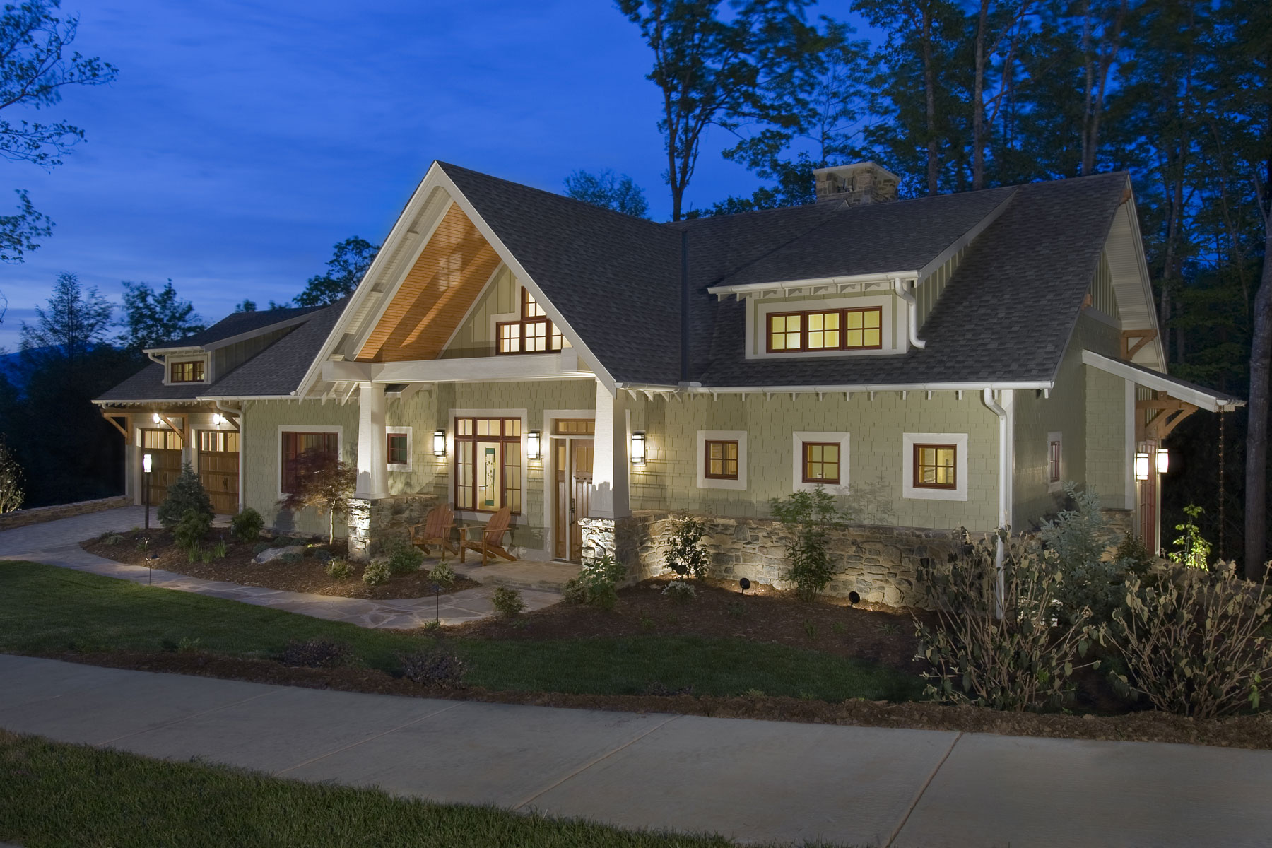 Front Elevation at Night of the Sustainable Living Craftsman