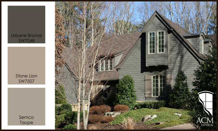 Shingle Style Home, Dark Gray Exterior Paint Colors.