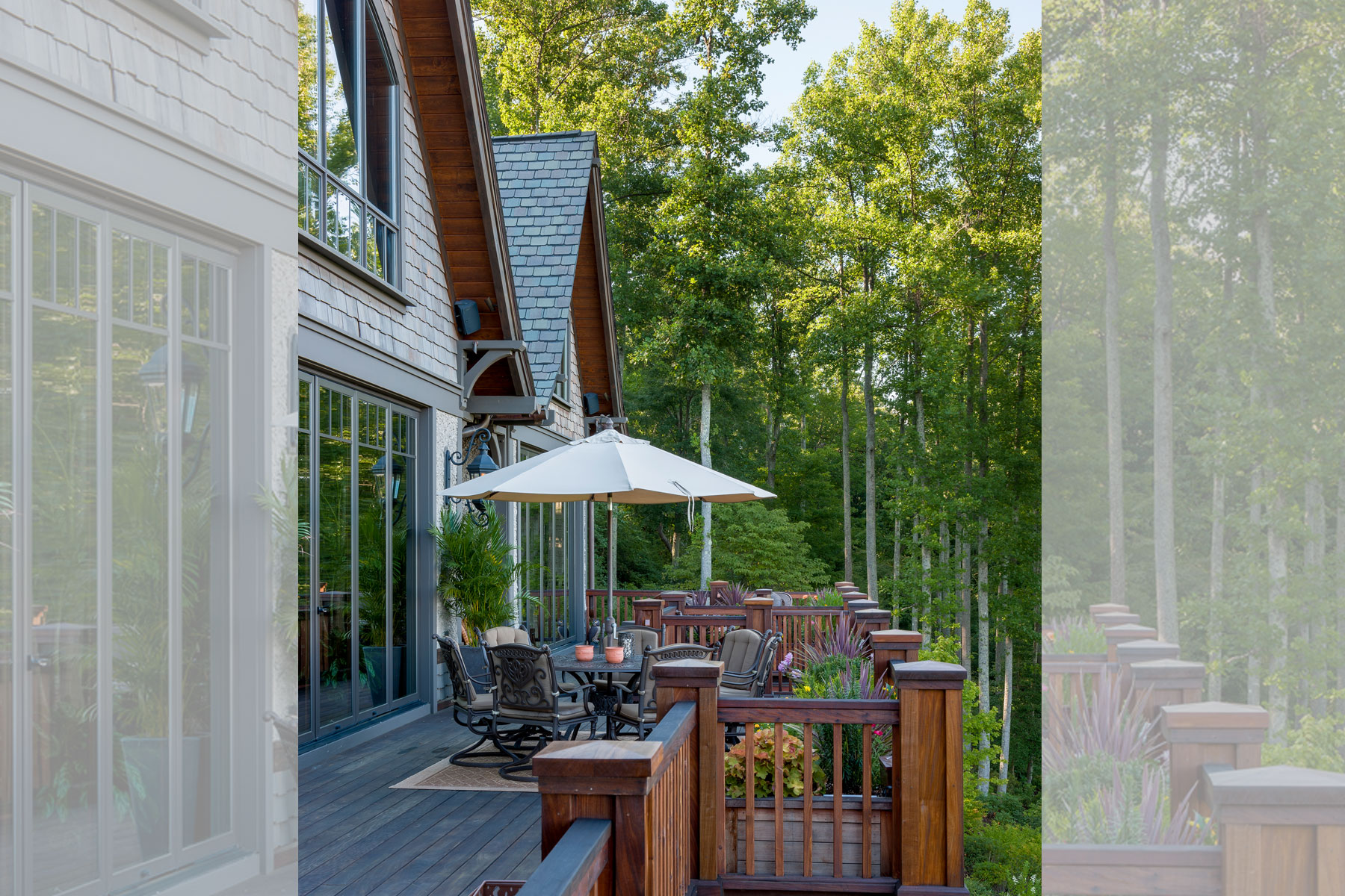 Back deck seating area in luxury mountain home renovation