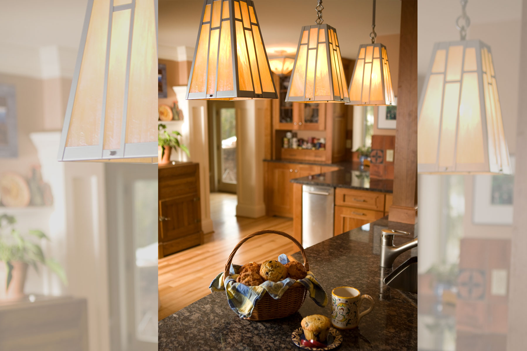 Custom craftsman pendant lights in kitchen renovation