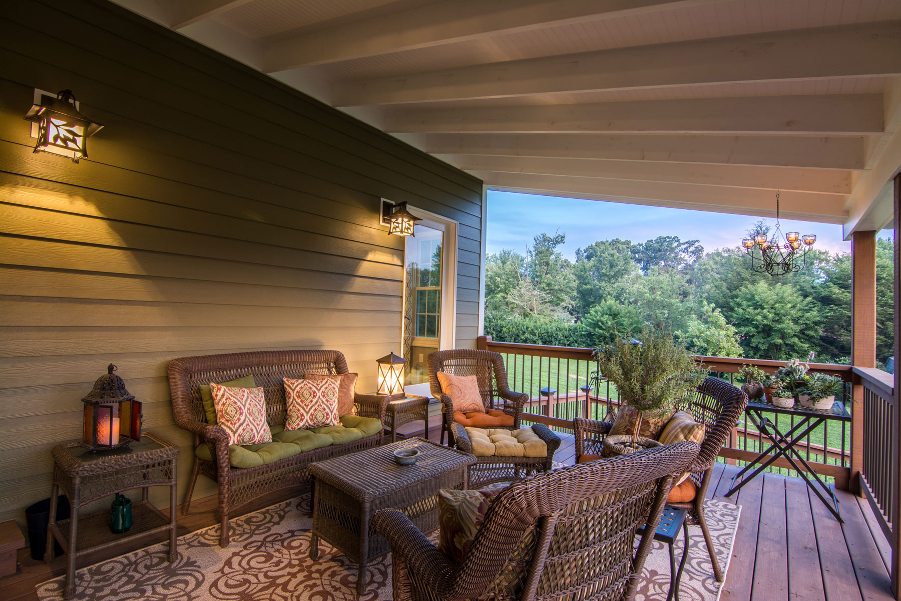 Covered porch added along with family room addition