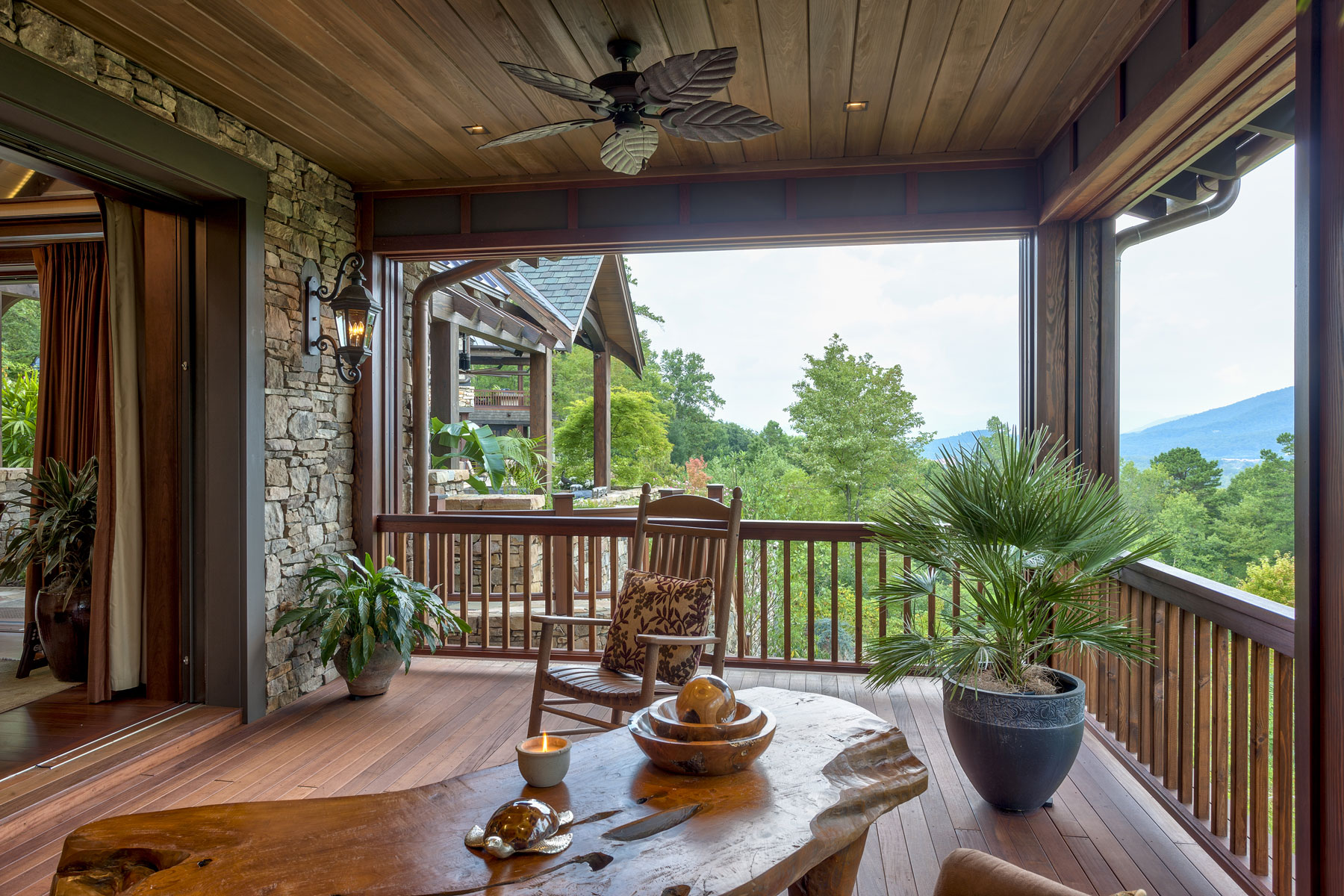Guest house covered porch with mountain views