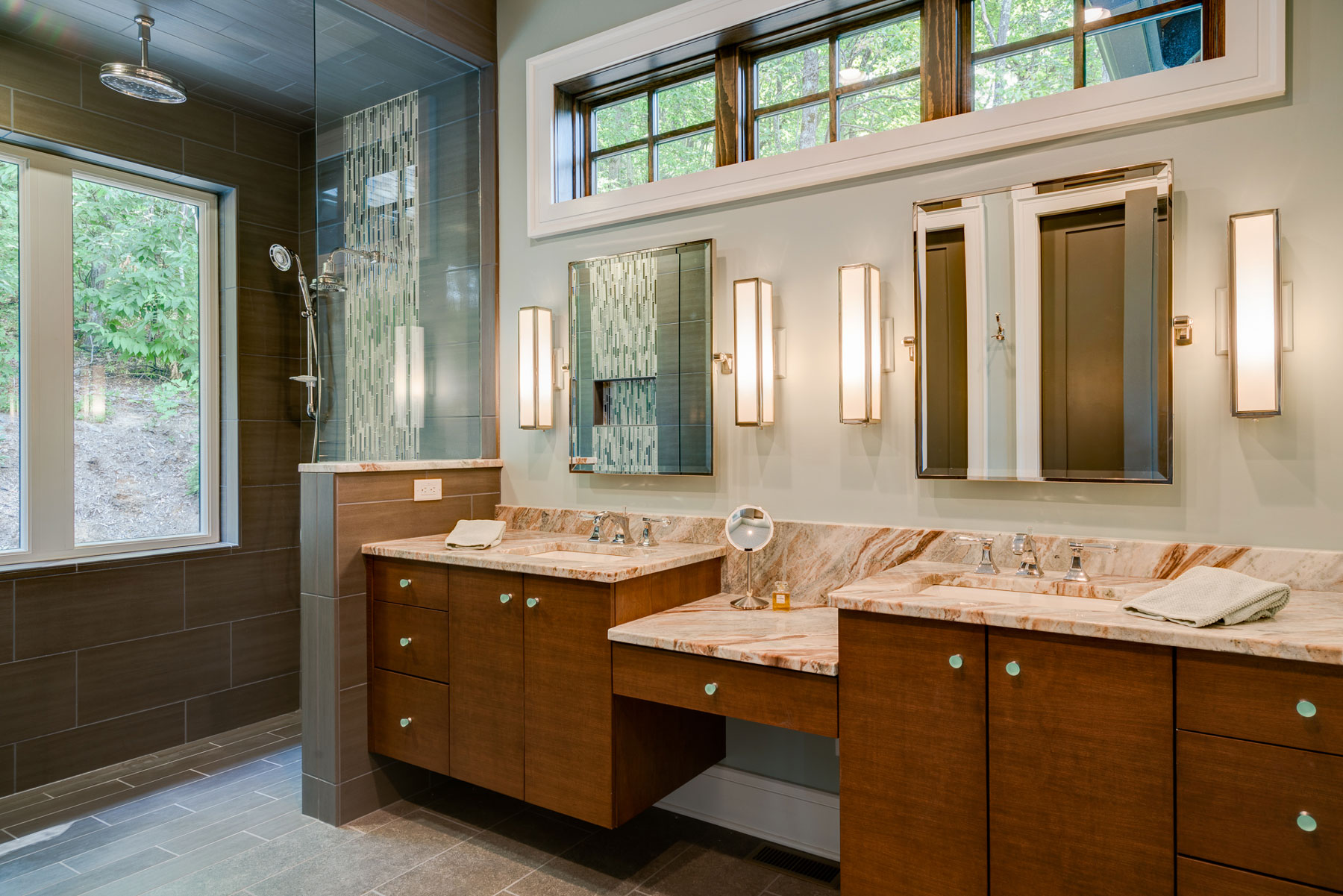 Master bath design for aging in place and retiring in the mountains