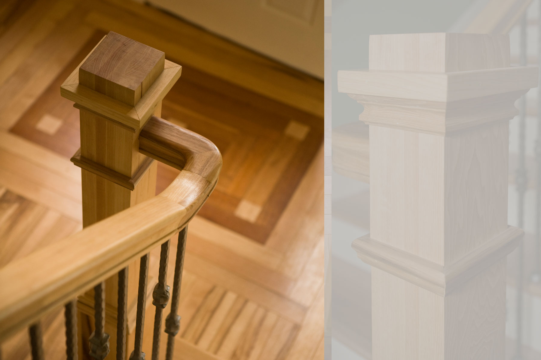 Detail of wood newel post in craftsman style renovation along with inlaid wood floor detail