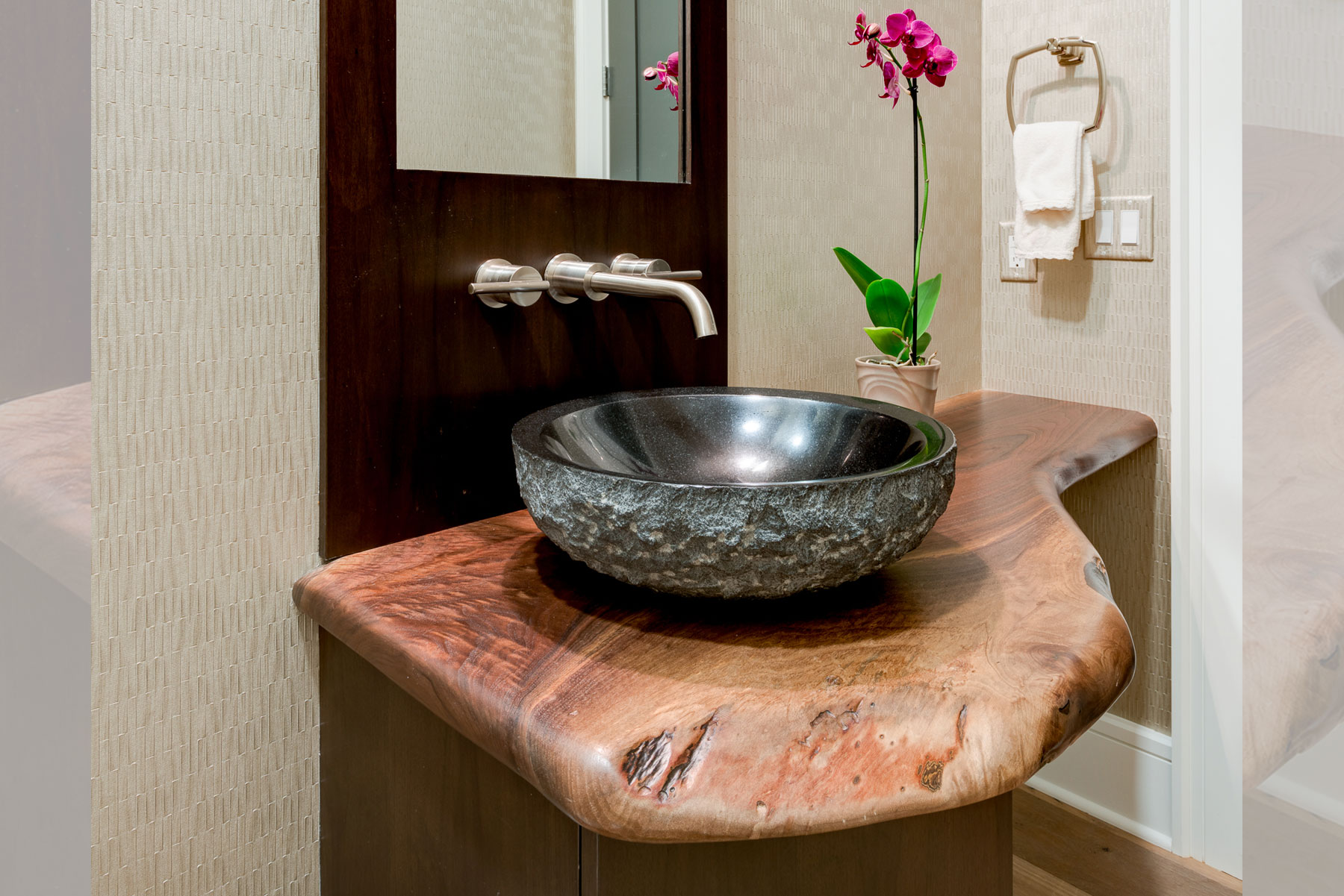 Live edge powder room vanity