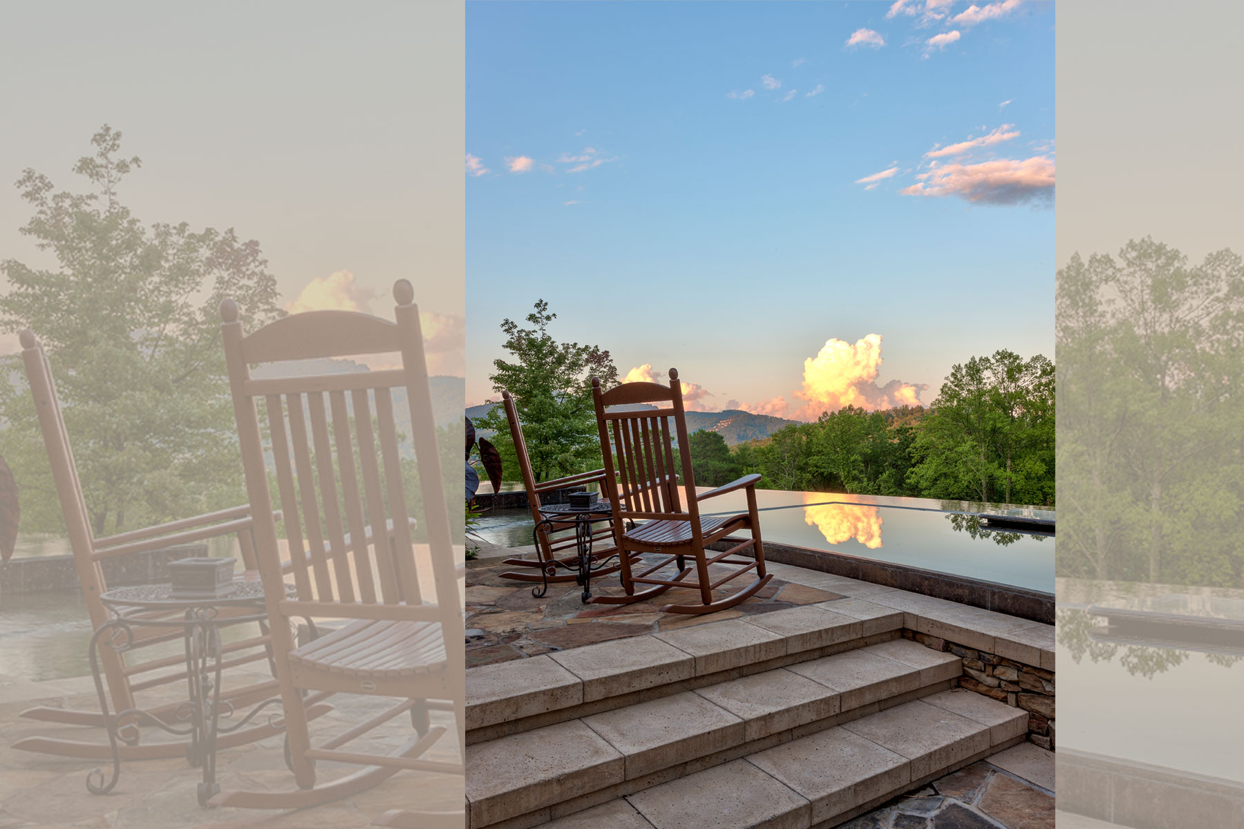 Poolside rocky chairs and stunning view in Asheville
