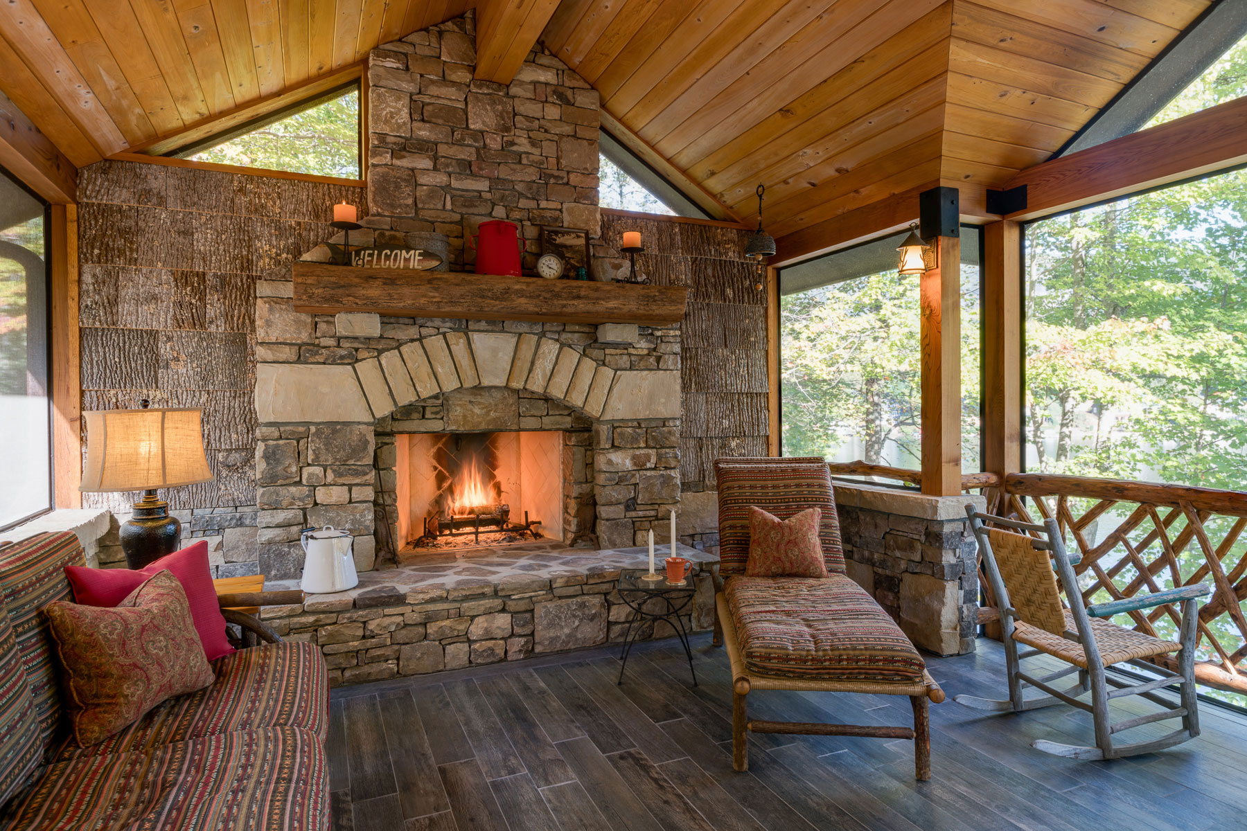 Rustic Hearth with Stacked Stone in Outdoor Room in Lake Lure Renovation & Addition