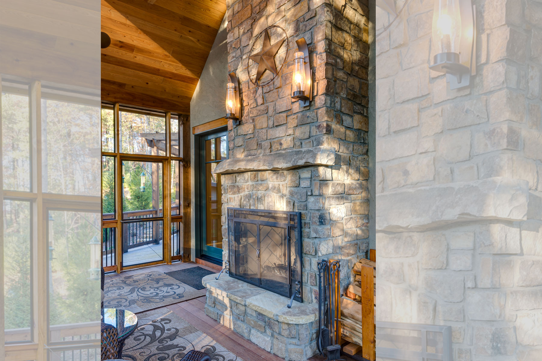 Stone fireplace on screened porch in Biltmore Forest Ramble Romantic