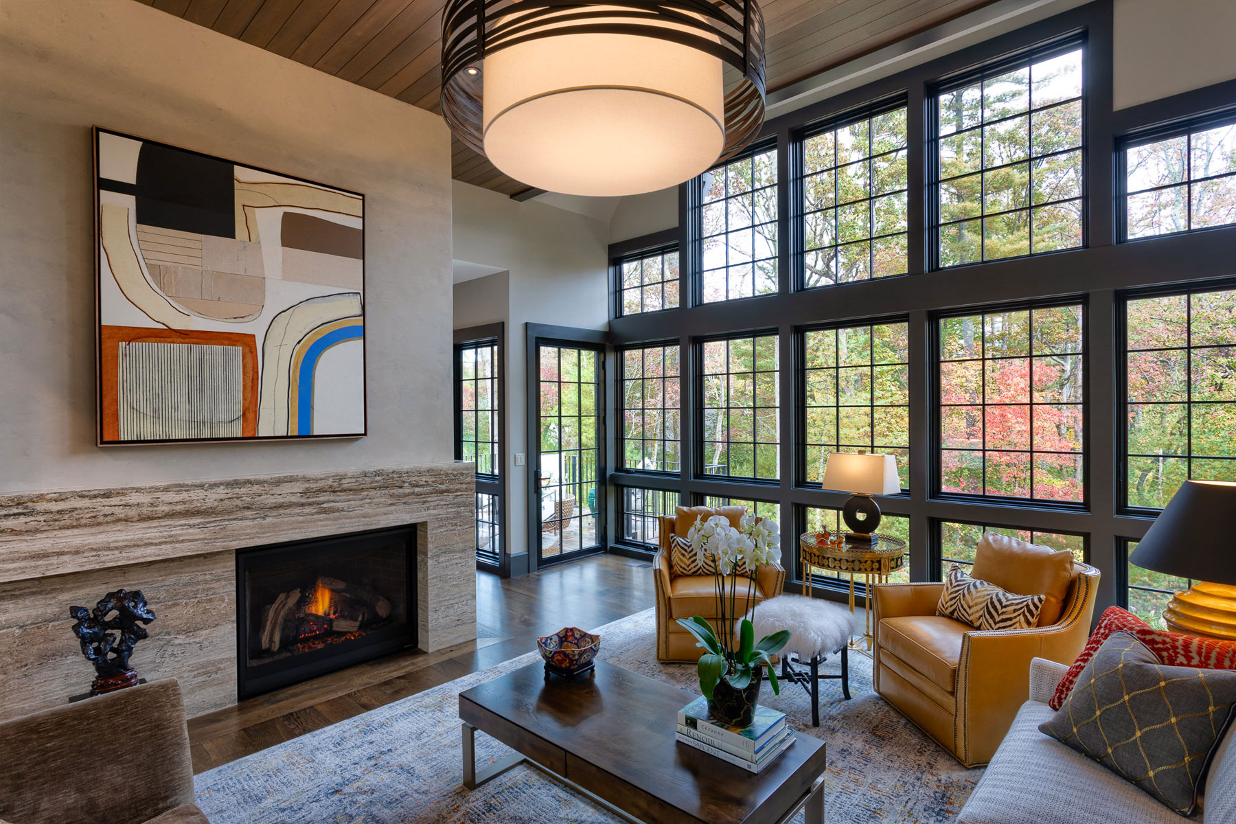 Interior design of modern eclectic luxury living room
