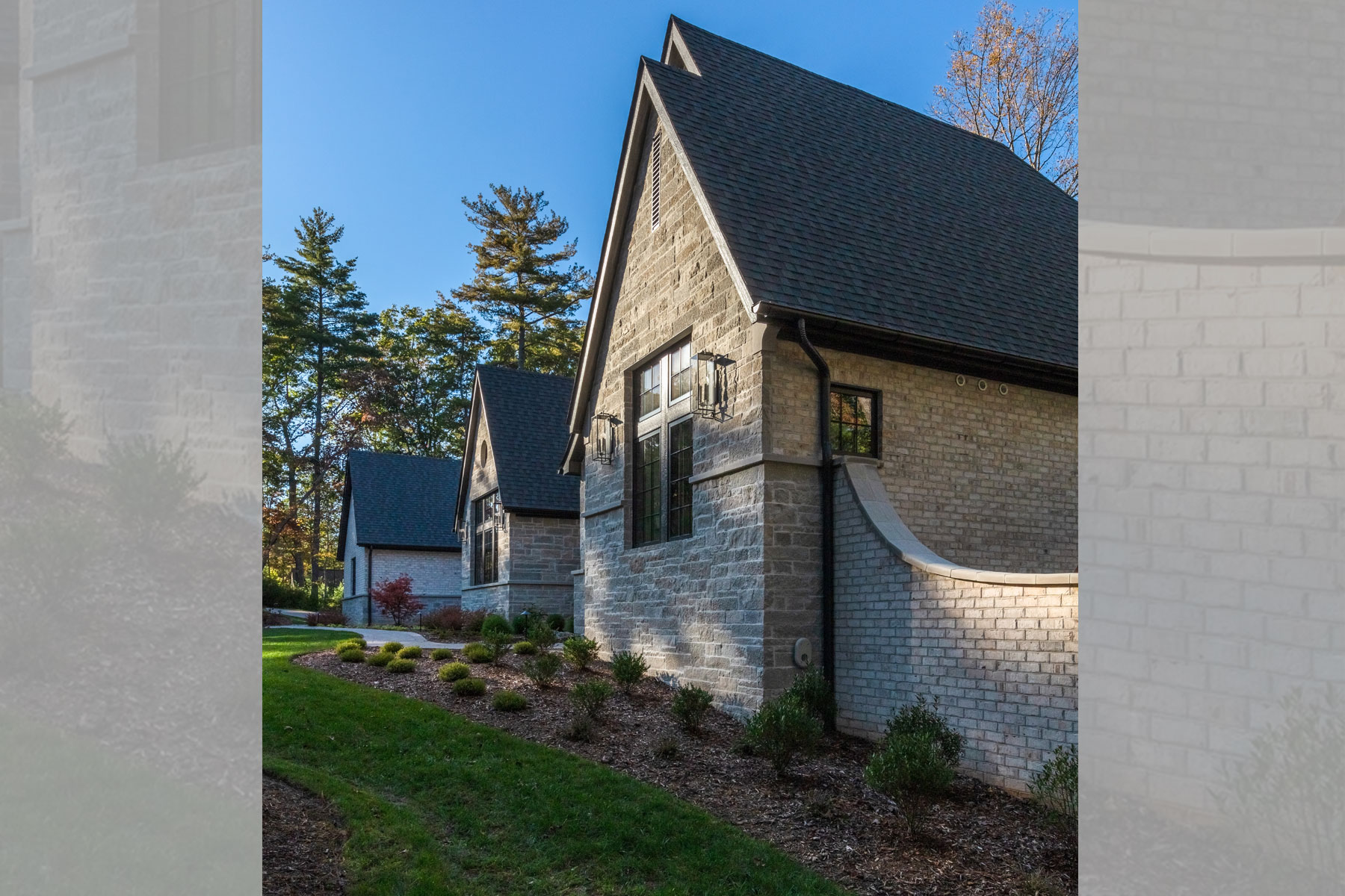 White brick and stone mountain home