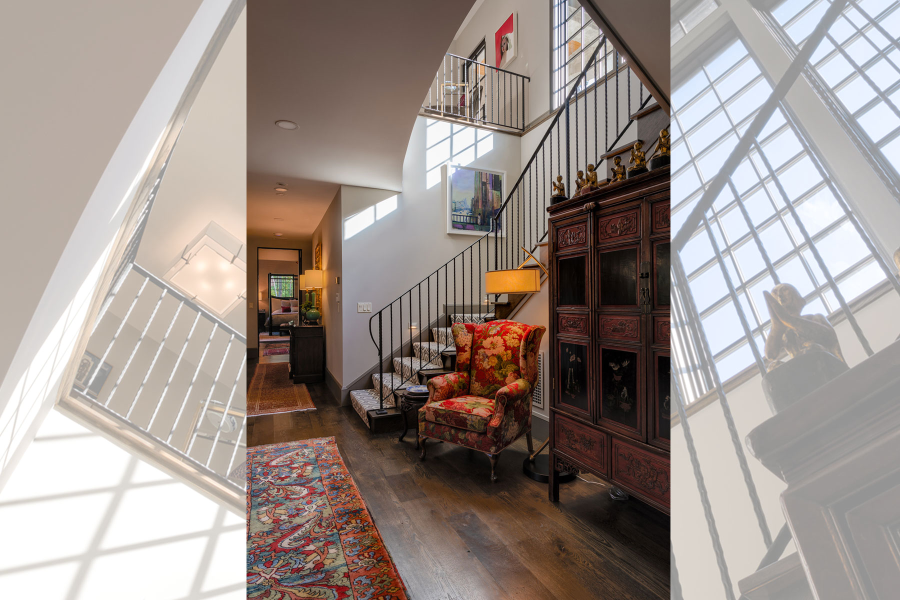 Two-story foyer with staircase to lower level