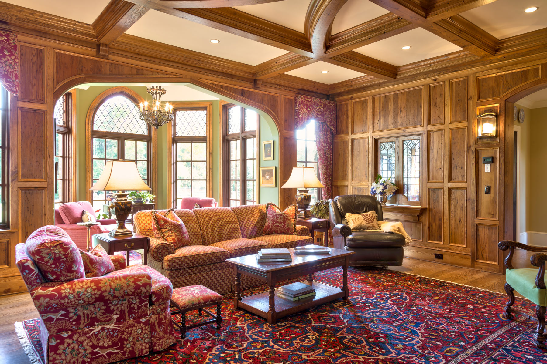 european-traditional-family-room-wood-trim-coffered-ceiling