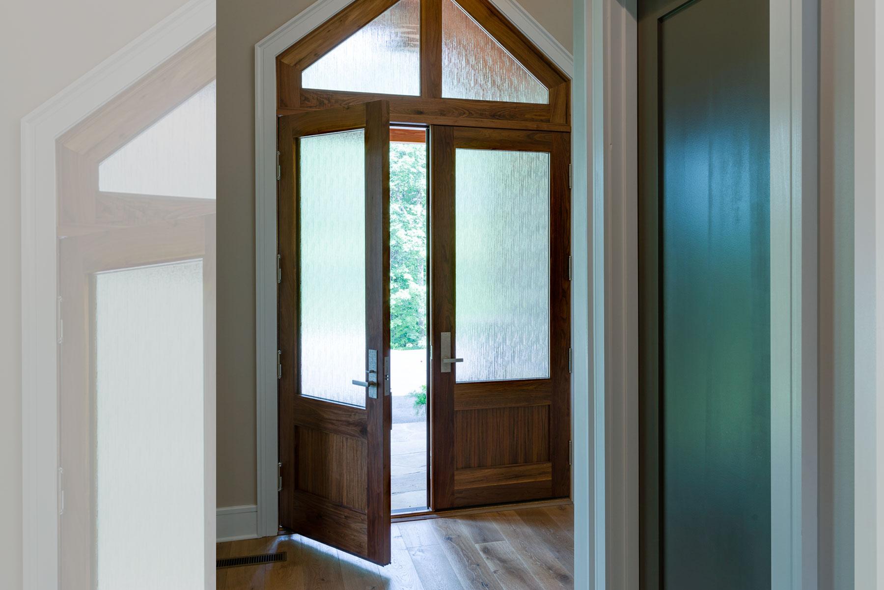 Elegant modern style front door with opaque glass