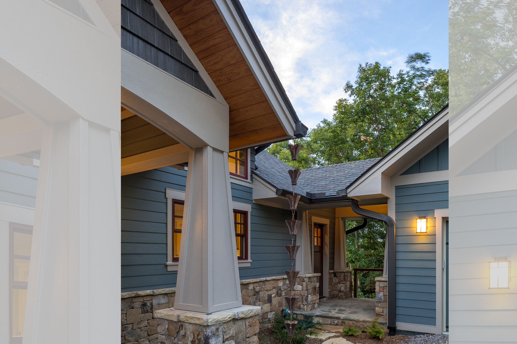 Breezeway from garage to main home in Traditional Mountain Craftsman