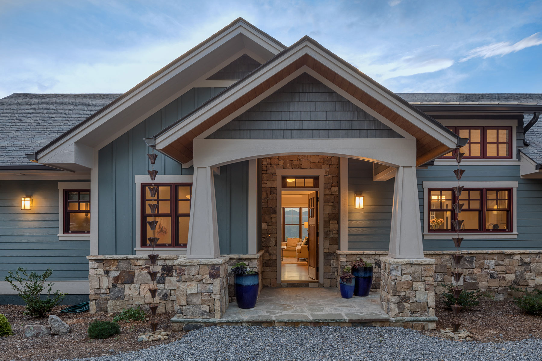 New Build, steep slope custom mountain home, traditional craftsman style