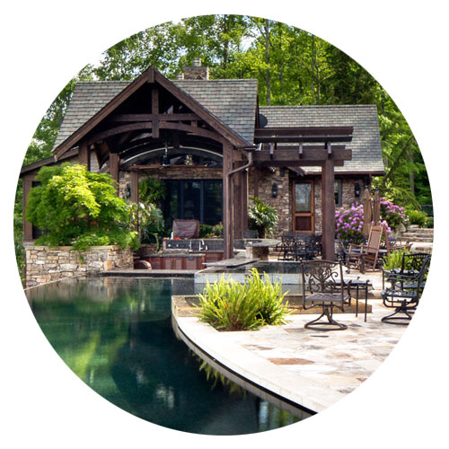Western North Carolina Mountain Home Architects who designs outdoor living spaces: kitchens, lounge, dining