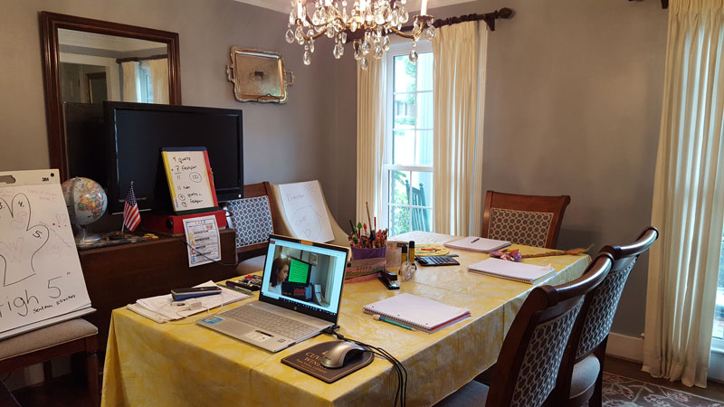 Dining room turned home office school room