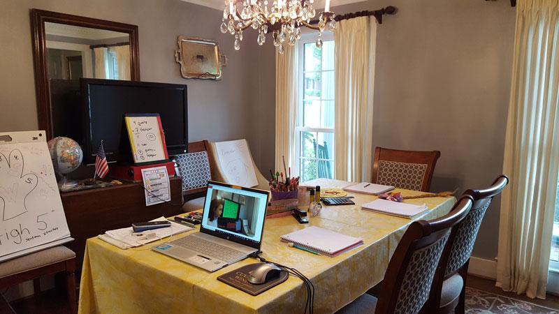 Dining room turned home office school room