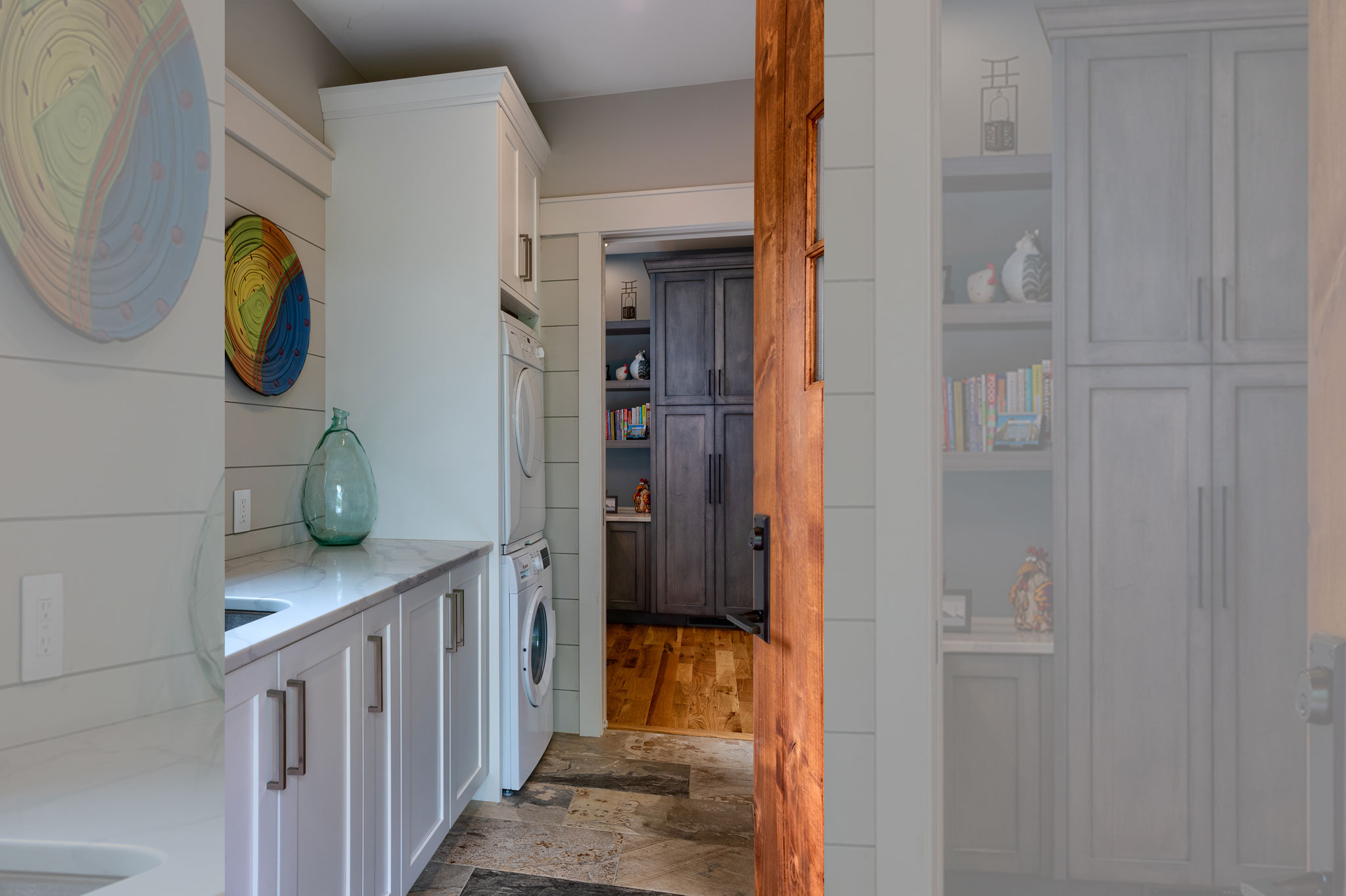 Mudroom in mountain home with laundry room