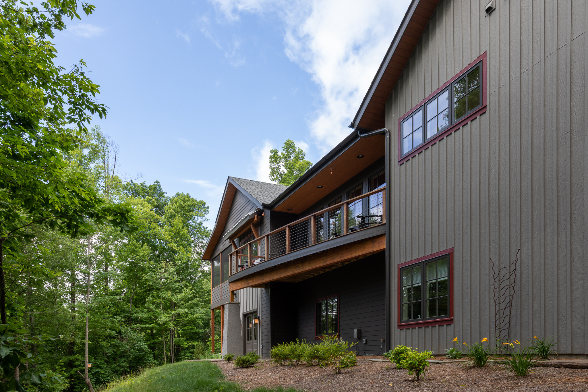 Rear elevation of mountain slope home