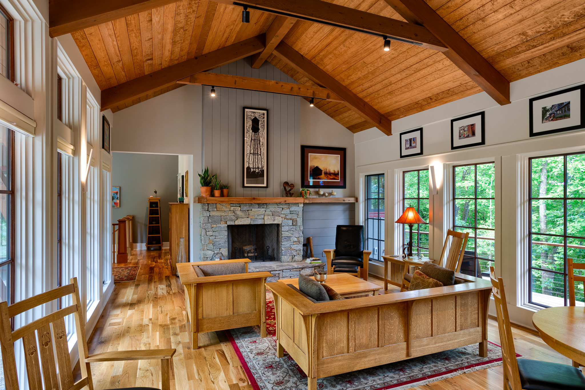 Craftsman styled mountain home with vaulted ceiling in Western North Carolina