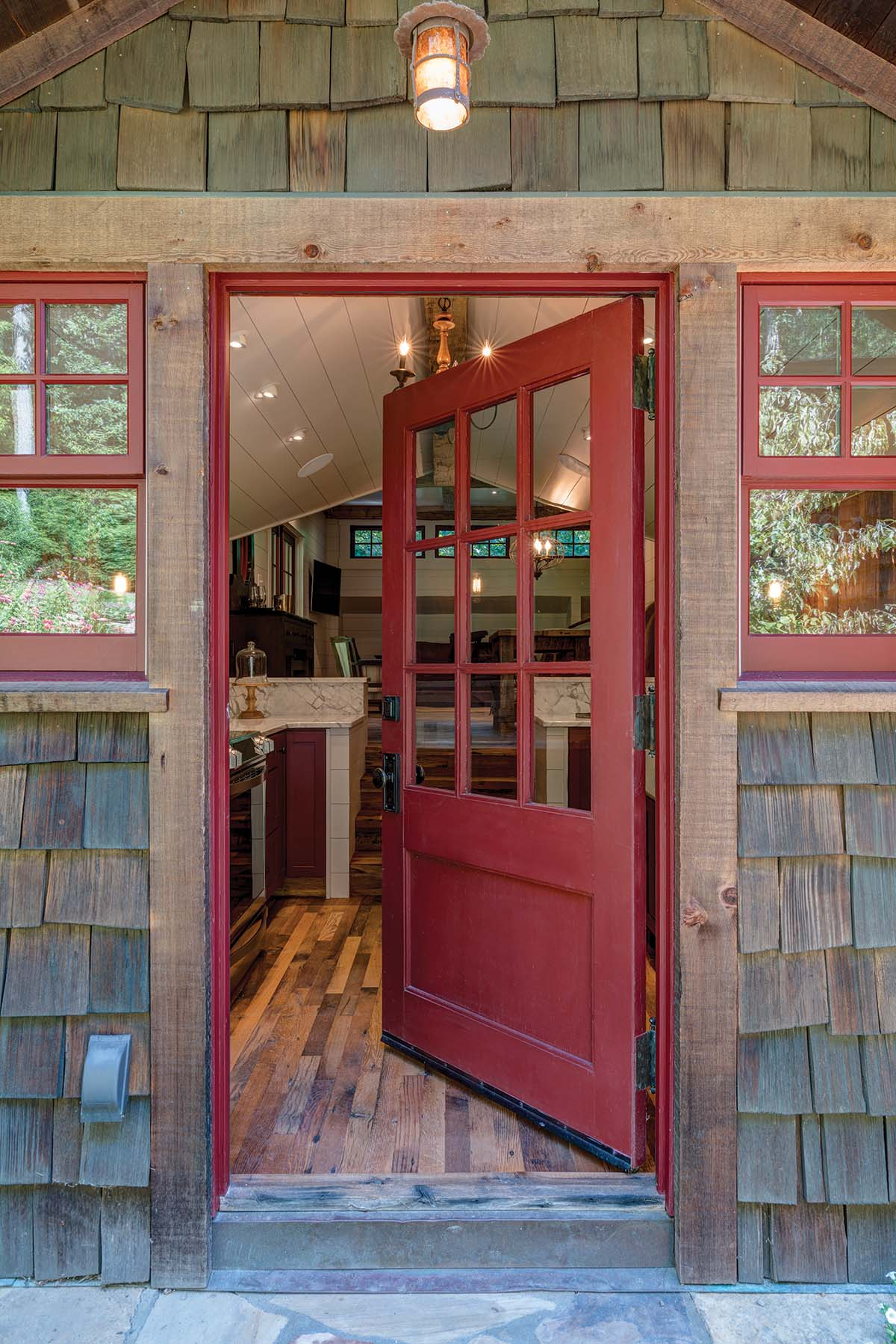 Entry door into carriage house renovation in Fletcher, NC